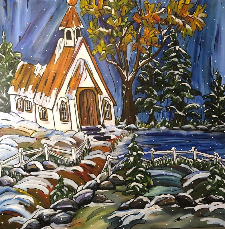 Winter's Wonder 36 X 36 Acrylic
