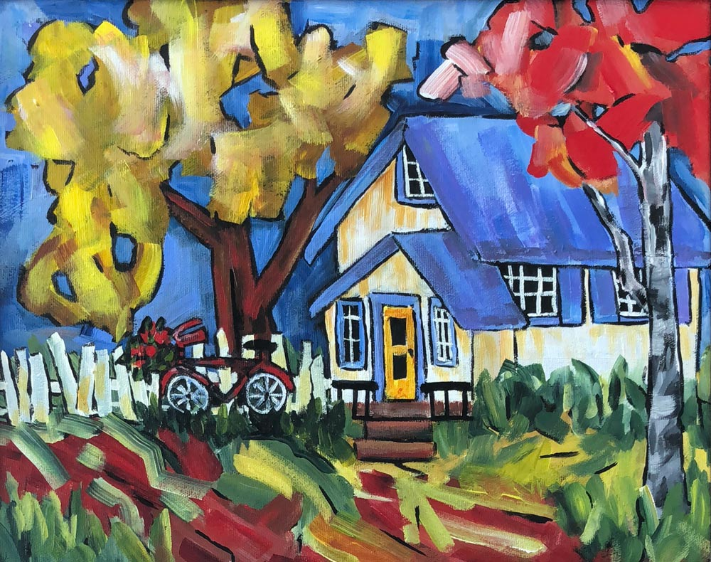 THE-NEIGHBOUR'S-HOUSE-12-by-16-acrylic-sold, Deb Peters