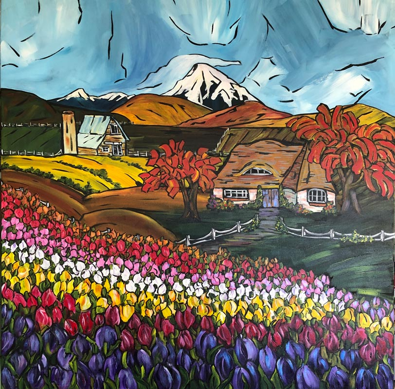 Valley Tulip Festival 36 X 36 Acrylic