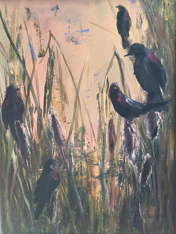 Marsh Blackbirds 11 X 14 Acrylic