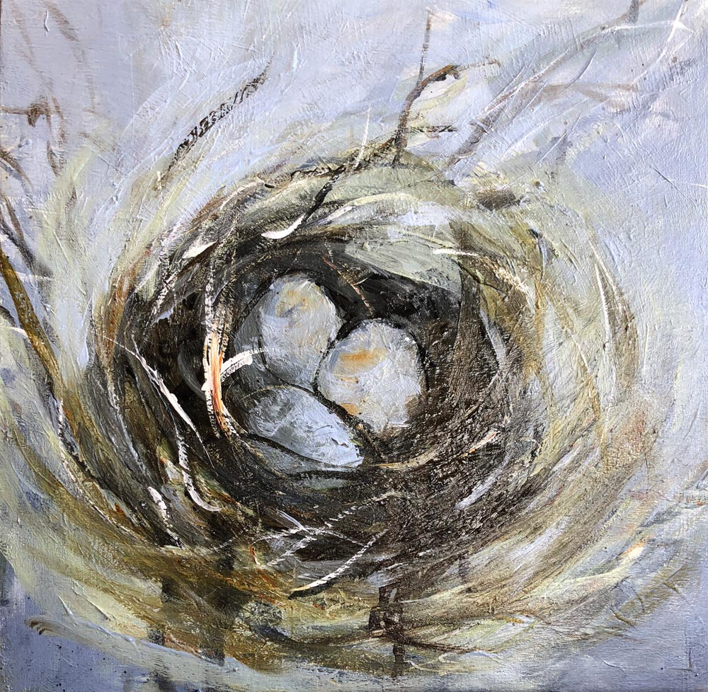 Nest Three 12 X 12 Mixed Media