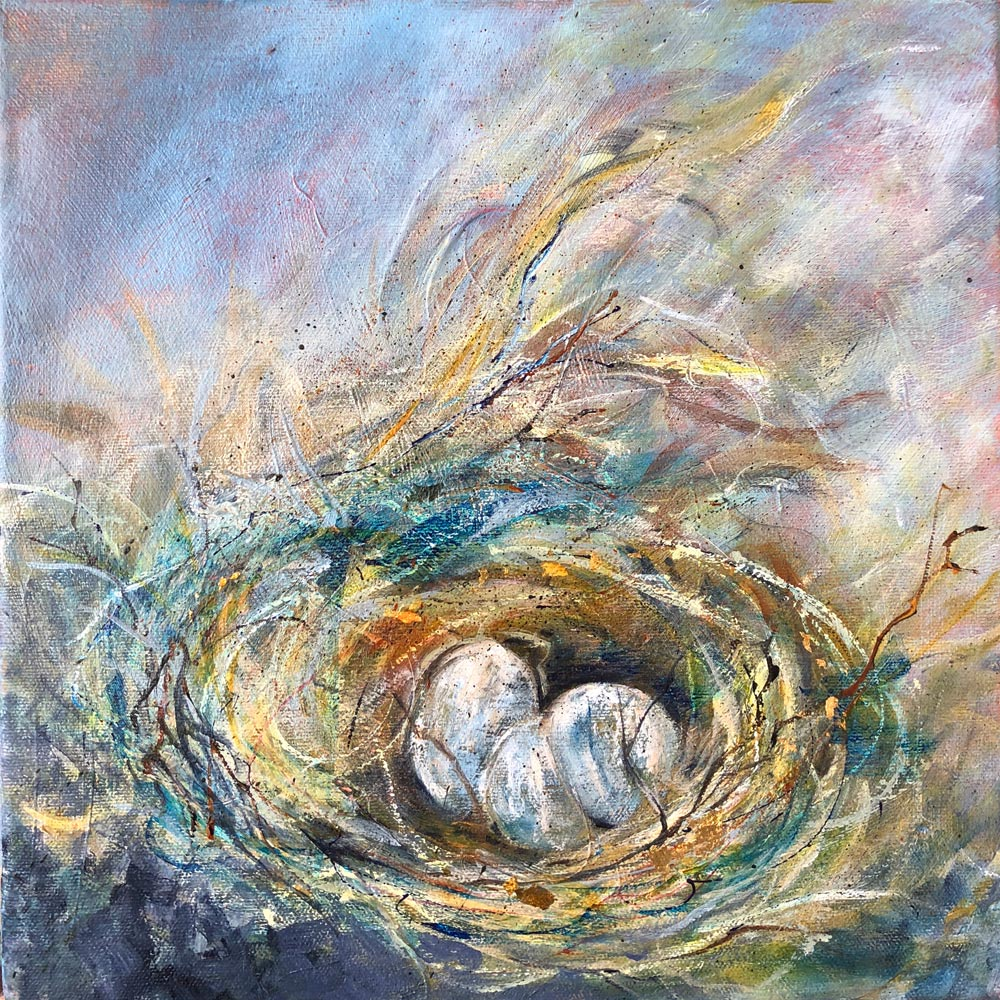 Nest Two 12 X 12 Mixed Media
