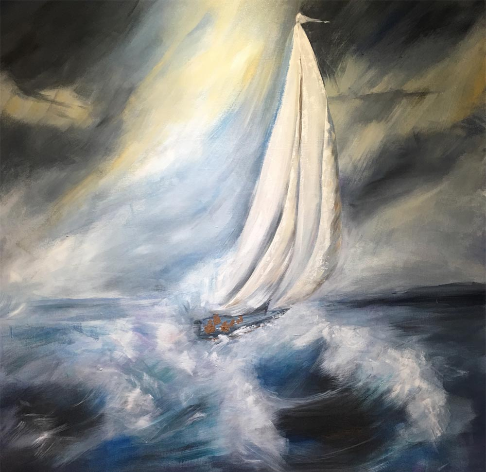Race With the Wind 48 X 48 Acrylic