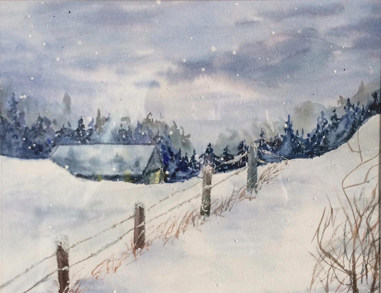 Winter's Shelter 14 X 16 Watercolour
